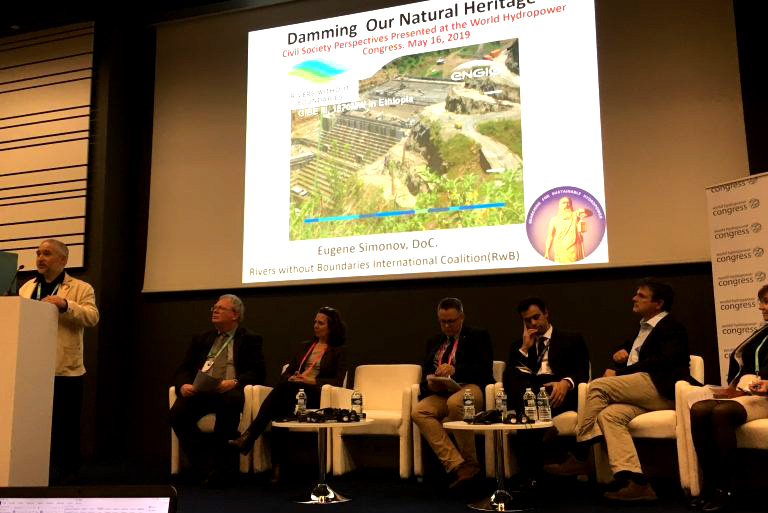 Dr. Eugene Simonov presents the Heritage Dammed Report at the World Hydropower Congress in Paris on May 16, 2019.